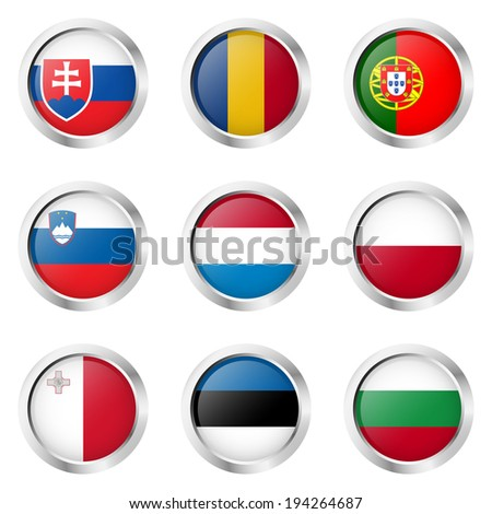 Country - Stickers: Portugal, Luxembourg, Poland, ... - stock vector