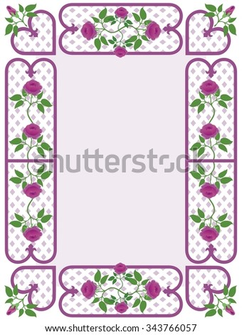 Country style old fashioned border of roses and lattice - stock vector