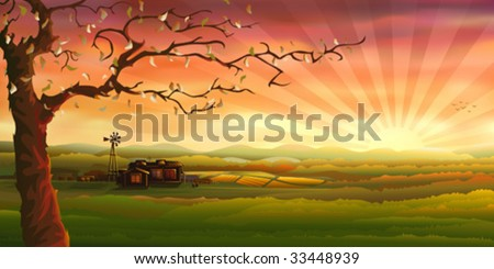 Countryside panorama (other landscapes are in my gallery) - stock vector