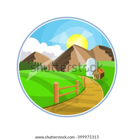Countryside road landscape illustration. Rural areas with mountains, hills and fields. Nature pathway on farmland. - stock vector