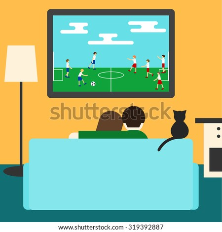 Couple and cat watching together soccer on television sitting on couch in room. Flat style for design card, invitation, poster, banner, placard, billboard. Football. Couple, couch, tv. Cat on couch. - stock vector