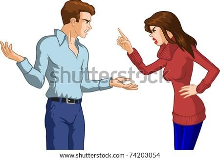 Couple Argument - stock vector