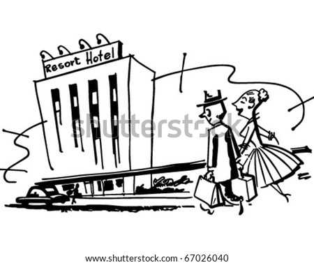 Couple Arriving At Hotel - Retro Clipart Illustration - stock vector