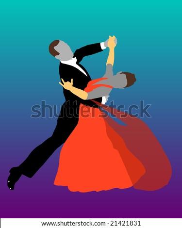 couple ballroom dancing - stock vector