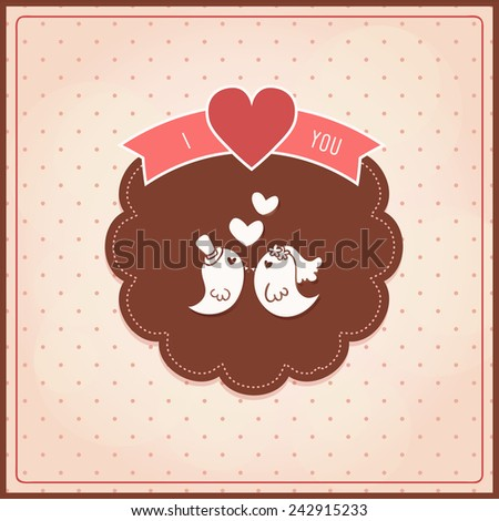 Couple bird chocolate tone for Valentine day and Anniversary. Vector illustration EPS10. - stock vector