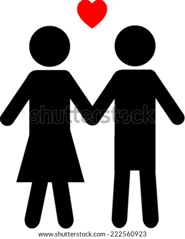 Couple black and white icon - stock vector