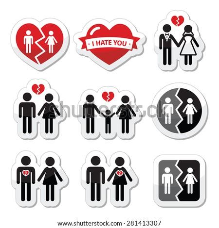 Couple breakup, divorce, broken family vector icons set  - stock vector