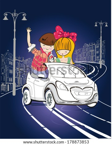 Couple, cartoon boy and girl, in the car on the night street road - stock vector