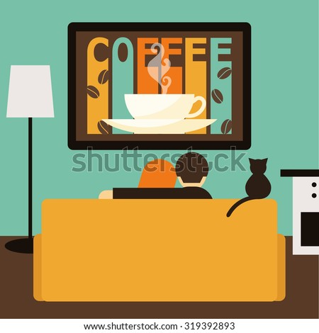 Couple, cat watching together coffee advertising on television sitting on couch. Flat style. Couch, couple, tv, coffee, cat. Couch. Orange couch. Couple, couch, family, tv, film, movie. Couch, couple - stock vector
