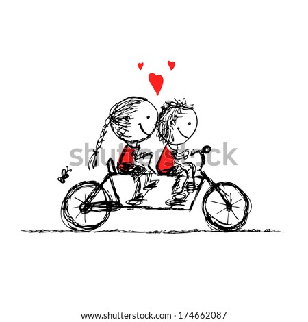 Couple cycling together, valentine sketch for your design - stock vector
