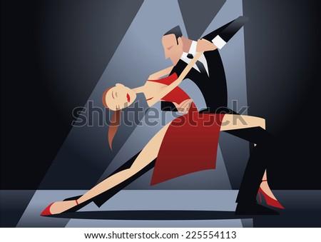 Couple dancing tango illustration - stock vector