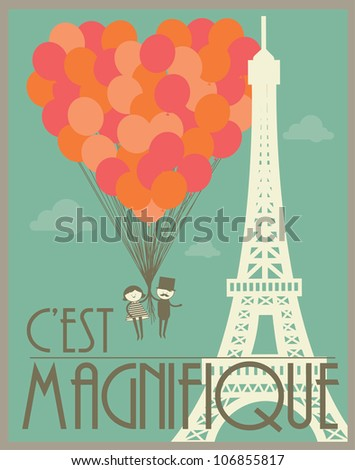 couple flying holding balloons in paris template vector/illustration - stock vector