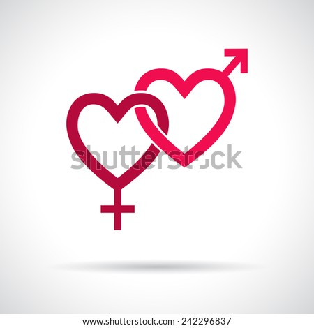 Couple gender icon. Connected hearts. Pink flat symbol with shadow. Design element for Valentine's Day, wedding, baby shower, birthday card etc. Vector illustration. - stock vector