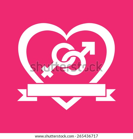 Couple gender icon. Flat female and male symbols in a heart. Concept of love or Valentine's Day. Vector illustration - stock vector
