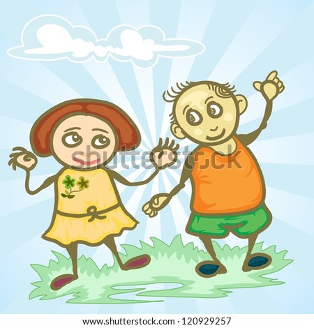 couple happy children playing on the grass with cloudy blue sky - stock vector