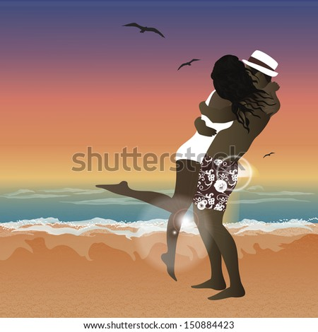 couple hugging on a beach in a sunset - stock vector
