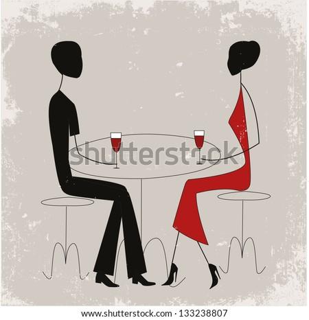 Couple in a restaurant - stock vector