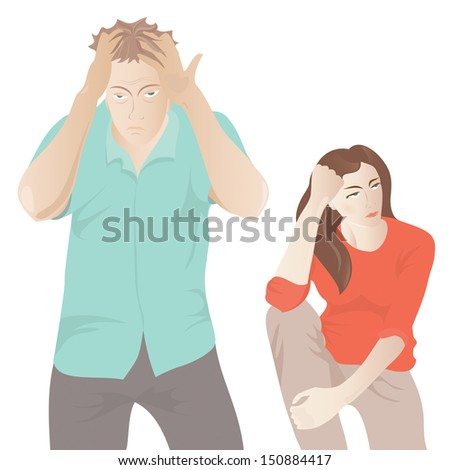 couple in conflict - stock vector