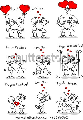 Couple in love, a child's drawing, the vector - stock vector