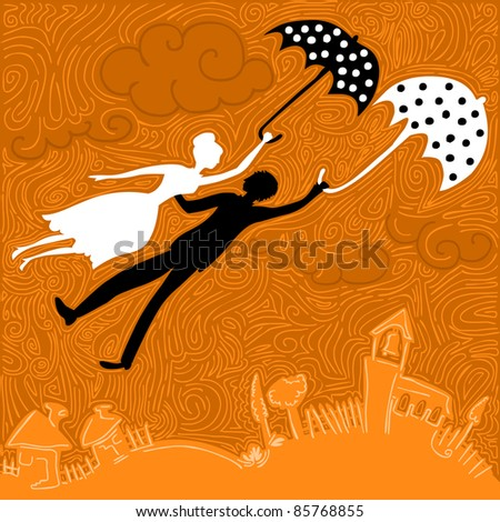 couple in love flying above the church and houses holding umbrellas - stock vector