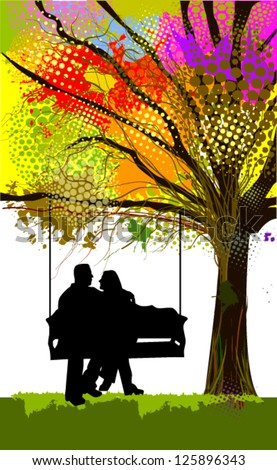 Couple in love on a swing under a multi-colored tree. vector - stock vector