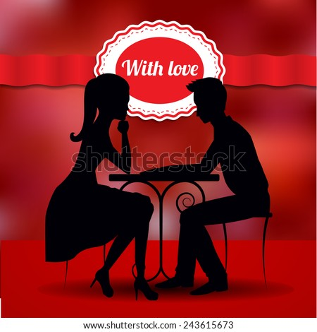 Couple in love sharing romantic dinner on romantic background with red ribbon. Vector silhouette. St. Valentine's day postcard. - stock vector