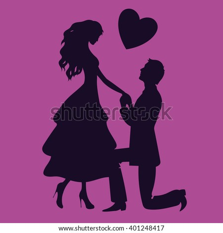 Couple in love vector silhouette illustration - stock vector