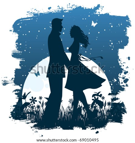 Couple in the night - stock vector