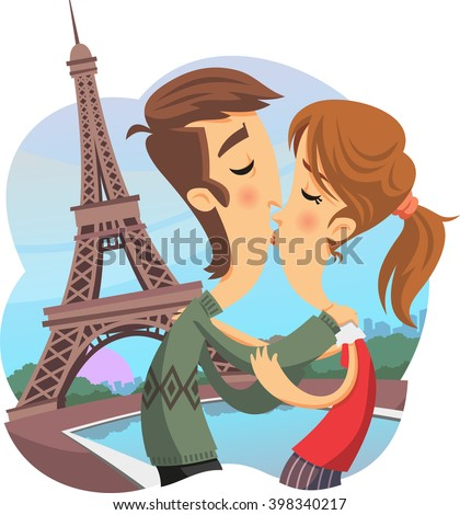couple kissing in paris by the eiffel tower - stock vector