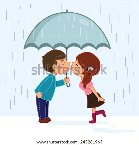 Couple kissing in the rain - stock vector