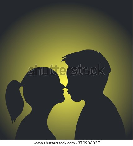 Couple Kissing, pair of lovers  Kissing Couple, Relationship, tender, young people, passion, Flirting  - stock vector