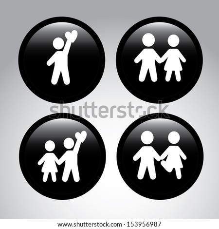 couple labels over gray background  vector illustration - stock vector