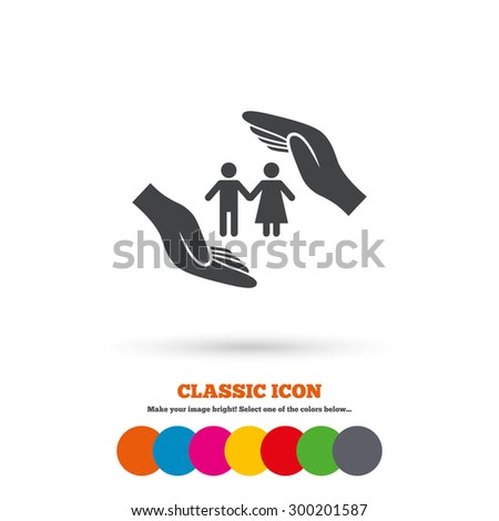Couple life insurance sign icon. Hands protect human group symbol. Health insurance. Classic flat icon. Colored circles. Vector - stock vector