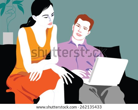 Couple looking at laptop - stock vector