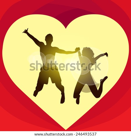 Couple love red heart shape jump valentine day holiday, Valentine's gift card vector illustration - stock vector