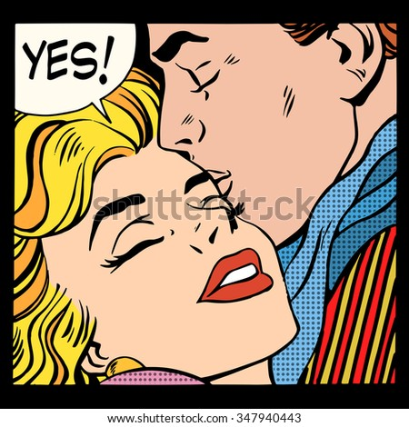 Couple love Yes pop art retro style. A man kisses a woman. Relationship and romance - stock vector