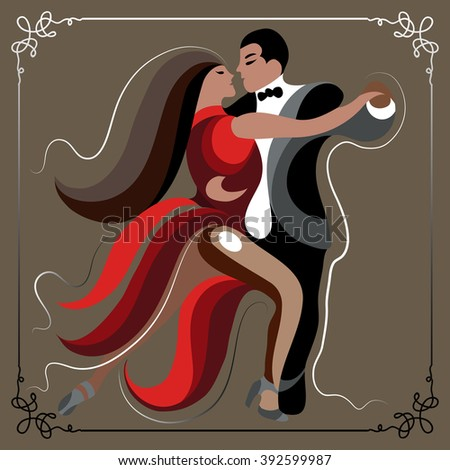 Couple (man and woman), dancing the tango. Suitable for invitation, flyer, sticker, poster, banner, card,label, cover, web. Vector illustration. - stock vector