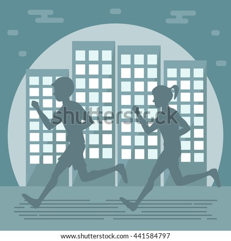 Couple man woman jogging on city background. Night runners. Vector illustration flat design.  - stock vector