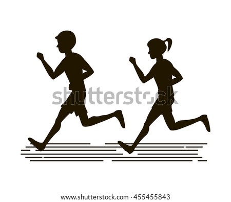 Couple man woman jogging silhouette. Vector illustration flat design. Runners icon. - stock vector
