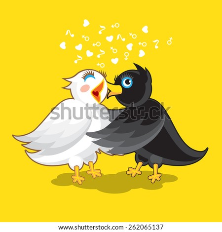 Couple of Birds. Black Bird Kissed White Bird - stock vector