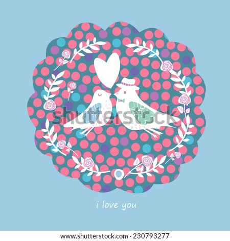 Couple of birds in love. Vector illustration - stock vector