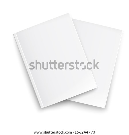 Couple of blank closed magazines template on white background with soft shadows. Ready for your design. Vector illustration. EPS10. - stock vector