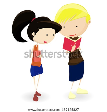 Couple of cartoon teenagers students. - stock vector