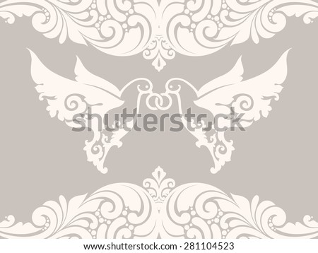 Couple  of doves with rings on background with lace pattern. Two white abstract birds. Ornamental borders elegant design element wedding invitation - stock vector