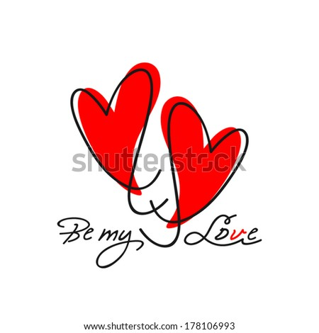 couple of hearts for valentine - stock vector