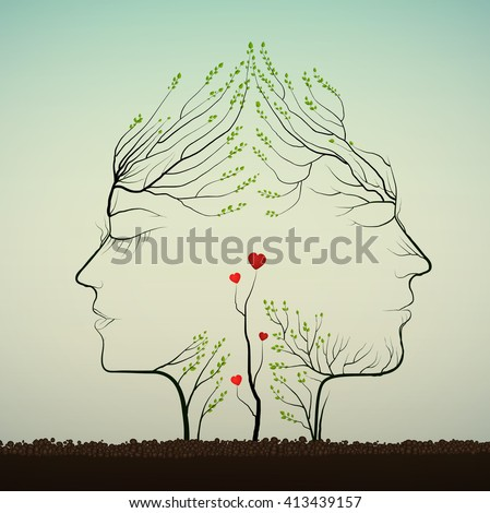 couple of people look like tree branches silhouettes with sprouts of red heat,  love idea, two profiles of lowers concept, vector - stock vector