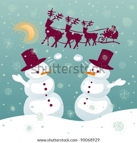 Couple of snowman playing with snowballs while santa is flying on a sledge with reindeer - stock vector