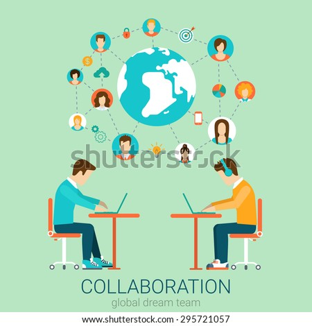 Couple of young men team working on tables with laptops infographics. Flat style design vector illustration collaboration teamwork concept. Flat 2D conceptual collection. - stock vector