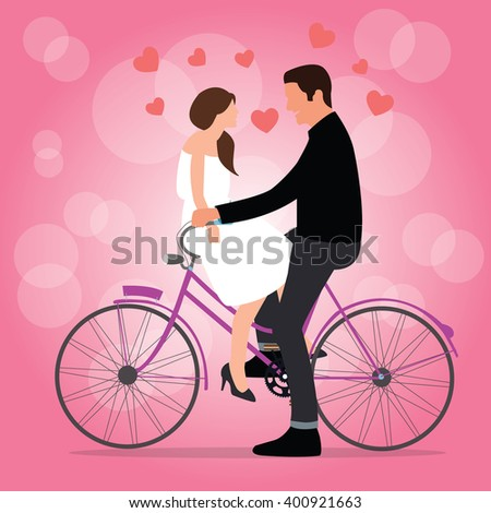 couple on bicycle fall in love pink background romantic moment man woman - stock vector
