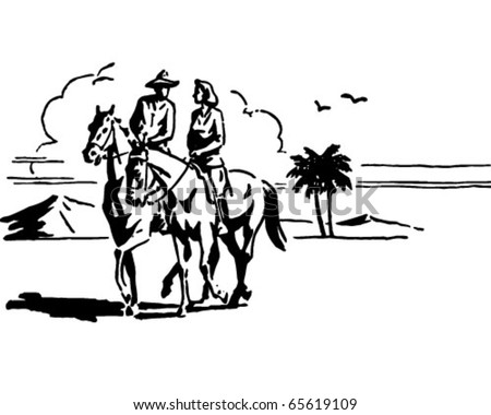 Couple On Horseback - Retro Clipart - stock vector